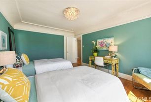 Contemporary Guest Bedroom with Crown molding, Paint 2, Wildon home sanford fabric armchair, Paint 1, Hardwood floors