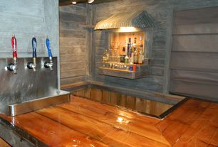 Rustic Bar with flush light, Standard height, Exposed beam