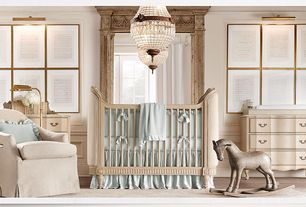 Traditional Kids Bedroom with Paint, Restoration hardware belle upholstered crib, Hardwood floors, Pendant light