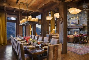 Rustic Dining Room with Floor to ceiling curtains, Exposed beam, Chandelier, Wall sconce, Dots parson chairs (set of 2)