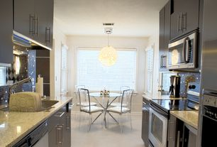 Contemporary Kitchen with Breakfast nook, Undermount sink, Flush, U-shaped, French doors, Casement, Simple granite counters