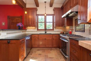 Craftsman Kitchen with Large Ceramic Tile, Simple granite counters, Flat panel cabinets, U-shaped, Exposed beam