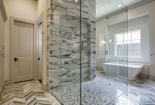 Contemporary Master Bathroom with Bathtub, frameless showerdoor, Freestanding, can lights, specialty door, Standard height