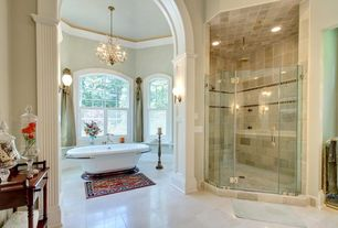 Traditional Master Bathroom with Chandelier, MS International Carrara White Marble Tile, frameless showerdoor, Crown molding
