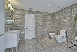 Contemporary Master Bathroom with specialty tile floors, European Cabinets, Master bathroom, Undermount sink, Flush, Bidet