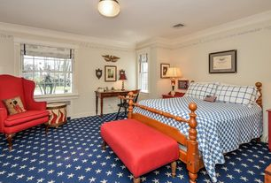 Country Guest Bedroom with double-hung window, Carpet, Standard height, Crown molding, flush light