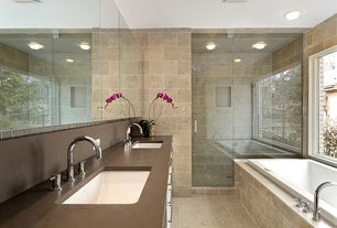 Contemporary Master Bathroom with Shower, Ms international - beige 12 in. x 24 in. honed travertine floor and wall tile