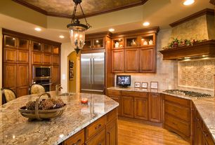 Traditional Kitchen with Stone Tile, High ceiling, Glass panel, Raised panel, U-shaped, Breakfast bar, Pendant light