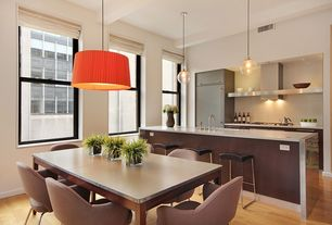 Contemporary Dining Room with Breakfast nook, Casement, Concrete Top Elm Base Dining Tables, Kitchen island, Pendant light