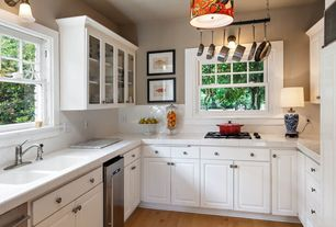 Traditional Kitchen with Bright snow white ceramic bullnose wall tile, Large Ceramic Tile, Wall sconce, Hardwood floors
