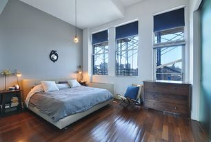 Contemporary Master Bedroom with Wall sconce, Standard height, Charish.com - hans wegner style rope chair, Hardwood floors
