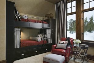 Contemporary Kids Bedroom with Bedding, Bunk beds, Carpet, Cabinet finish, High ceiling, Bella leather chair