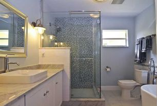 """Contemporary Full Bathroom with Wall sconce, Oceanside glass tile - muse glass mosaic cool waters, 5/8"""" x 5/8"""" straight set"""