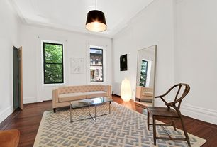 Contemporary Living Room with Hardwood floors, flush light, Engineered bamboo flooring, Crown molding