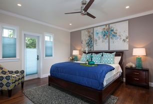 Contemporary Master Bedroom with double-hung window, Crown molding, Standard height, Ceiling fan, can lights, French doors