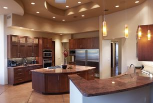 Modern Kitchen with Subway Tile, Inset cabinets, Flat panel cabinets, Undermount sink, terracotta tile floors, High ceiling