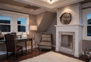 Contemporary Home Office with Crown molding, double-hung window, Standard height, stone fireplace, can lights, Fireplace