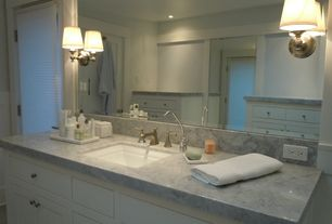 Traditional Master Bathroom with Skylight, Arizona tile, TROPICAL BLUE, Marble, Undermount sink, Complex marble counters