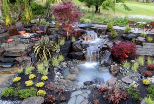 Rustic Landscape/Yard with Pond, Pathway, exterior stone floors, Fountain, Fire pit