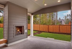 Traditional Porch with exterior tile floors, Exterior fireplace, exterior concrete tile floors, Fence, Screened porch