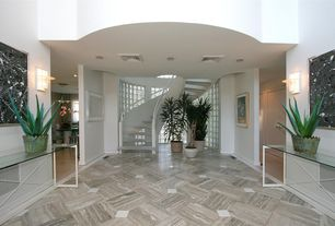 Modern Hallway with stone tile floors, Wall sconce, High ceiling, soapstone tile floors, specialty window