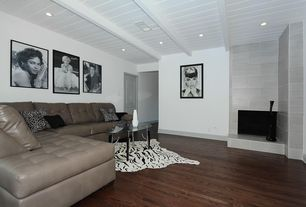Contemporary Living Room with specialty door, Standard height, Exposed beam, insert fireplace, Hardwood floors, Fireplace