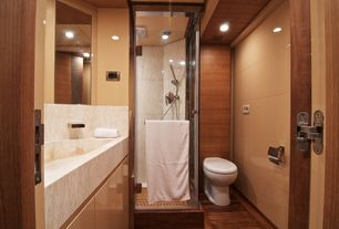 Contemporary 3/4 Bathroom with Hardwood floors, Simple Marble, Farmhouse sink, Handheld showerhead, frameless showerdoor