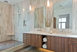 Contemporary Master Bathroom with Flush, stone tile floors, Double sink, Wall sconce, Master bathroom, Undermount sink