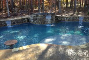 Rustic Swimming Pool with exterior stone floors, Fence, Pool with hot tub, Raised beds