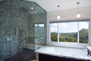 Contemporary Master Bathroom with Shower, Pendant light, drop in bathtub, Flush, Flat panel cabinets, Bathtub, can lights