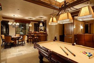 Traditional Basement with Concrete tile , Slate pool table with cherry finish, Chandelier, Crown molding, Wall sconce