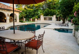 Mediterranean Patio with exterior concrete tile floors, exterior tile floors, Fence, Other Pool Type, Pathway, Gate