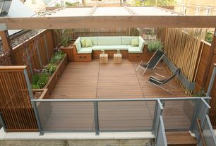 Contemporary Deck with Gate, Raised beds, Pathway, Trellis, Fence