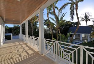 Tropical Porch with Screened porch, exterior tile floors