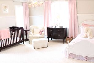 Traditional Kids Bedroom with no bedroom feature, Wainscotting, Chandelier, Standard height, Arched window, Carpet