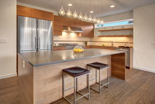 Modern Kitchen with full backsplash, Large Ceramic Tile, Flush, Kitchen island, picture window, Wall Hood, Undermount sink