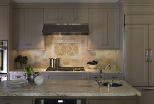 Contemporary Kitchen with full backsplash, One-wall, double wall oven, electric cooktop, Flat panel cabinets, Wall Hood