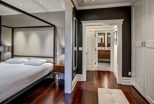 Contemporary Master Bedroom with can lights, Crown molding, Standard height, Laminate floors, interior wallpaper