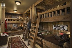 Country Guest Bedroom with Exposed beam, Built in bunk beds, flush light, Carpet, Columns, Bunk beds