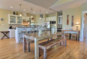 Cottage Kitchen with Kitchen island, High ceiling, Custom wall hood, Wine refrigerator, U-shaped kitchen, Pendant light