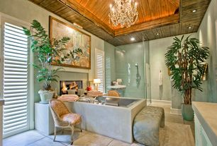 Eclectic Master Bathroom with Flat panel cabinets, Master bathroom, Flush, Concrete bath surround, Wall sconce, Chandelier