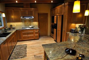 Craftsman Kitchen with Onyx counters, dishwasher, flat door, Kitchen peninsula, flush light, full backsplash, Wall Hood