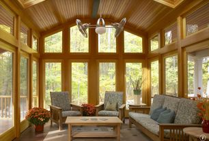 Craftsman Porch with Skylight, Transom window, Screened porch, French doors