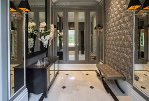 Traditional Entryway with simple marble tile floors, Wall sconce, High ceiling, French doors