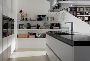 Contemporary Kitchen with Paint, One-wall, Concrete floors, Slate counters, Flush, double wall oven, European Cabinets
