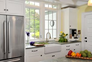 Country Kitchen with Standard height, L-shaped, Farmhouse sink, Casement, Kitchen island, Built In Refrigerator, Paint