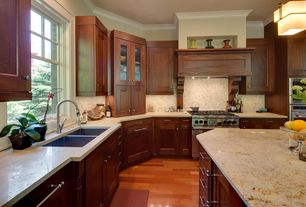 Craftsman Kitchen with L-shaped, flush light, Complex granite counters, Limestone Tile, Ms international - colonial gold