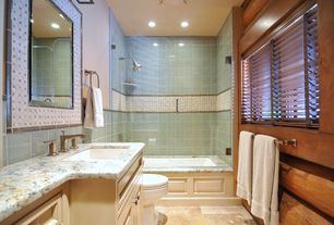 Rustic Full Bathroom with Raised panel, Inset cabinets, Undermount sink, Mico designs wilson widespread faucet