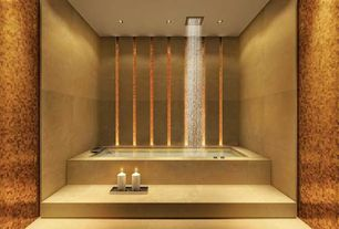 Contemporary Master Bathroom with Rain shower, Bathtub, limestone floors, no showerdoor, Standard height, drop in bathtub