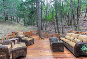 Contemporary Deck with Outdoor wicker furniture, Outdoor seating area, Fence